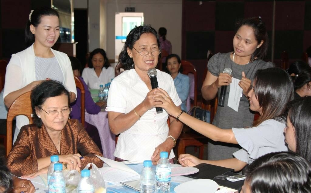 "Ms.-Vong-Sreymom-left-and-Ms.-May-Sreylon-right-interviewing-a-female-councillor-during-a-""Female-Councillors-News-Show""."