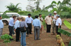 28 April 2015 - The German delegation visited Land Recipient's farm together with H.E. Dr. Sareth Boramy, Director of Land Distribution Sub Sector Program at MLMUPC, LASED Project Directorwith H.E. Sar Sovann, Secretary of State at MLMUPCin Sreleu Senchey community in Tbong Khmum Province, which is supported by GIZ ILF (picture by GIZ).