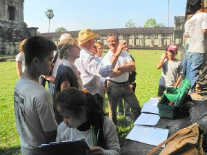 H.E. David Lane, US Ambassador to the United Nations Agencies in Rome meets trainees of the stone conservation unit at Angkor Wat temple