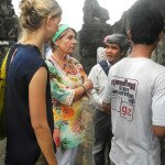 Ms. Klemp vistits worksite of the Stone Conservation Unit and meets trainees.