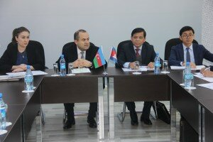 The head of the Cambodian delegation, H.E. Thor Sethana, Under Secretary of State from MCS (2nd from right), H.E. Pich Vicheakunthy, Director General from MCS (right), Mr. Vafadar Misirov, Deputy Chairman from CSC (2nd from left) and Ms. Narmin Zeynalova, Head of International Relations from CSC during the opening of the exchange visit.