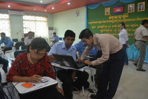 The participants got guidance from the IT expert during the training in Siem Reap province